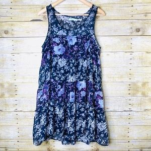 Kimchi Blue Dress Floral Navy Purple White Medium